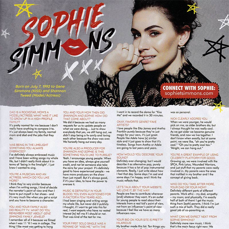 Sophie Simmons: In the Limelight and Shining Bright • Sophie